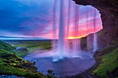 Sunset from the footpath behind Seljalandsfoss Waterfall, Southern Region, Iceland
