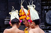 Young Balinese Hindu Women At The Batara Turun Kabeh Ceremony, Besakih Temple, Bali, Indonesia.