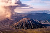 An Elevated View Of Mount Bromo, Mount Batok and The Bromo Tengger Semeru National Park, Java, Indonesia.