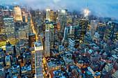 New York. Manhattan. Aerial view at dusk