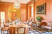 Dining room inside the Chateau de Villandry in the Loire Valley, France