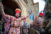 "ALMONACID DEL MARQUESADO CUENCA CASTILLA SPAIN ON FEBRUARY 2, 2020: La Endiablada, which roughly translates as ""The Brotherhood of the Devils"" is an impressive tradition survived through the centuries with display of dancing, colours, crazy costumes and incredible noise.\n"