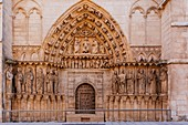 The Cathedral of Saint Mary of Burgos. Facade and Door of the Coronería o Gate of the Apostles. Burgos, Castile and Leon, Spain, Europe
