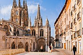 The Cathedral of Saint Mary of Burgos. View from Fernán González street. Burgos, Castile and Leon, Spain, Europe