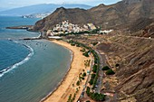 Aerial view and panoramic view of Teresitas Beach and San Andres, Canary Islands, Spain