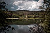 Blick von der Hünselburg zum Ringelsberg, Mündung Bärenbach und Eder, Nationalpark Kellerwald-Edersee, Hessen, Deutschland, Europa