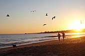Strollers in sunset on Santa Barbara Beach, California, USA.
