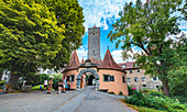 Castle tower and city gate in Rothenburg ob der Tauber, Bavaria, Germany