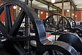 Flywheels of the waterworks at Hohen Ablass, Augsburg, Swabia, Bavaria, Germany