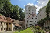Large and small water tower in the Handwerkerhof, Augsburg, Swabia, Bavaria, Germany
