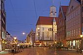 Catholic Church St. Moritz and Maximilianstrasse, Augsburg, Swabia, Bavaria, Germany