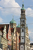 Perlach tower and facade of the town hall, seen from the cathedral, Augsburg, Swabia, Bavaria, Germany