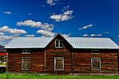 Ancient wooden hut at a farm, near Ekorrbäcken, Norrbottens Län, Sweden