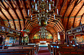 Interior view of the old wooden church with gallery and altar in Kopparberg, Örebro province, Sweden