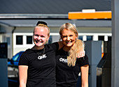 The two young women from the gas station are beaming, Lycksele, Västerbottens Län, Sweden