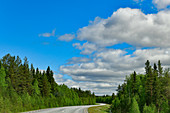 The lonely country road curves through Lapland, Västernorrland Province, Sweden