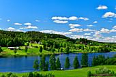 Fantastic hilly landscape by a lake, near Vallen, Västerbottens Län, Sweden