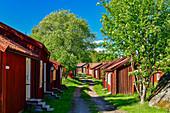 Historic wooden houses and cottages in Lövanger Kyrkstad, Västerbottens Län, Sweden