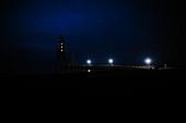Dorumer lighthouse at night, Dorum, Lower Saxony, Germany