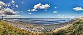 Panoramic view of the North Sea at Dorum-Neufeld with the Obereversand lighthouse, Lower Saxony, Germany