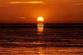 Sonnenuntergang an der Nordsee, Dorum, Niedersachsen, Deutschland