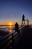 Sunset at the Obereversand lighthouse, Dorum-Neufeld, Lower Saxony, Germany