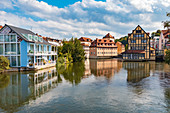 Regnitz and Obere Mühlbrücke in the old town of Bamberg, Bavaria, Germany