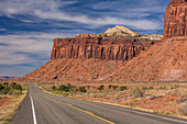 Utah SR 211 winding through the canyons of Indian Creek, along the Indian Creek Corridor Scenic Byway, in Indian Creek National Monument, formerly part of Bears Ears National Monument, on the way to the Needles District of Canyonlands National Park in southern Utah, USA