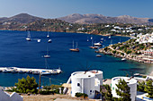 View of Panteli and Leros Island from hillside, Leros, Dodecanese Islands, Greece.