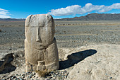 A 7th century Turkik monument standing in the barren landscape of the Sagsai Valley in the Altai Mountains near the city of Ulgii (Ölgii) in the Bayan-Ulgii Province in western Mongolia.