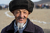 Portrait of a Kazakh man with beard at the Golden Eagle Festival near the city of Ulgii (Ölgii) in the Bayan-Ulgii Province in western Mongolia.