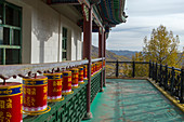 Prayer wheels on the outside of the Ariyabal Meditation temple in Gorkhi Terelj National Park which is 60 km from Ulaanbaatar, Mongolia.