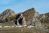 Tourist camps in Gorkhi Terelj National Park which is 60 km from Ulaanbaatar, Mongolia.
