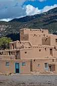 The Taos Pueblo which is the only living Native American community designated both a World Heritage Site by UNESCO and a National Historic Landmark in Taos, New Mexico, USA.