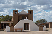 The Roman Catholic Church at the Taos Pueblo which is the only living Native American community designated both a World Heritage Site by UNESCO and a National Historic Landmark in Taos, New Mexico, USA.