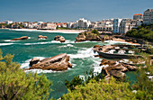 The old harbour, the seafront promenade and beach, Biarritz, France