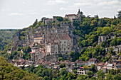 View of the medieval town of Rocamadour with its castle, Causses du Quercy Regional Natural Park,