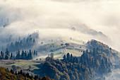Ukraine, Zakarpattia region, Carpathians, Borzhava, Foggy hills of?Carpathian Mountains?at sunrise