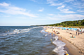 Beach panorama on the beach of Zinnowitz with vacationers, Usedom, Mecklenburg-Western Pomerania, Germany