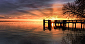 Sunrise at the jetty, Lake Starnberg, Bernried, Bavaria, Germany