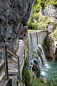 Blick auf den Wasserfall in der Rappenlochschlucht, Dornbirn, Vorarlberg, Österreich, Europa