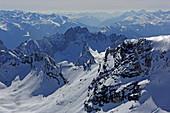 View from the Zugspitze, Garmisch-Partenkirchen, Werdenfelser Land, Upper Bavaria, Bavaria, Germany