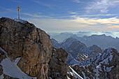 Cross of the east summit of the Zugspitze, Garmisch-Partenkirchen, Upper Bavaria, Bavaria, Germany
