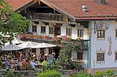 Terrace of the Ansitz zum Schmiedwirt restaurant, Elbach, Leitzachtal, Upper Bavaria, Bavaria, Germany