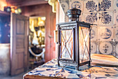 Lantern in the Old Frisian House from 1640 on Keitumer Watt, Sylt, Schleswig-Holstein, Germany