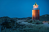 Lighthouse cross mark fire in Kampen in the evening, Sylt, Schleswig-Holstein, Germany