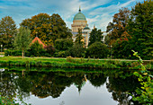 New journey of the Havel, Friendship Island, Nikolaikirche and Old Town Hall on the Old Market, Potsdam, Brandenburg, Germany