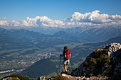 Mountain hiking on the Untersberg in Upper Bavaria, view of the Osterhorn group and the Dachstein in Austria, Upper Bavaria, Germany, Alps, Europe