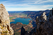 View from the Herzogstand to the Kochelsee, Upper Bavaria, Germany, Europe