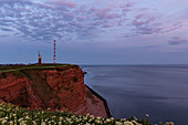 Evening mood on the Heligoland Oberland with a view of the lighthouse, North Sea, Schleswig-Holstein, Germany